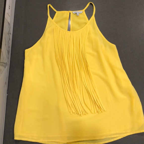 Naked Zebra Tops - Yellow halter with tassel front *donating 12/31*